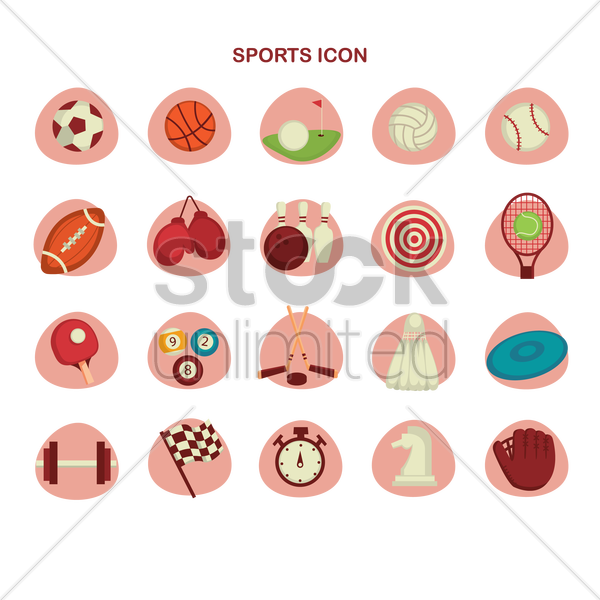 collection of sports icon vector graphic