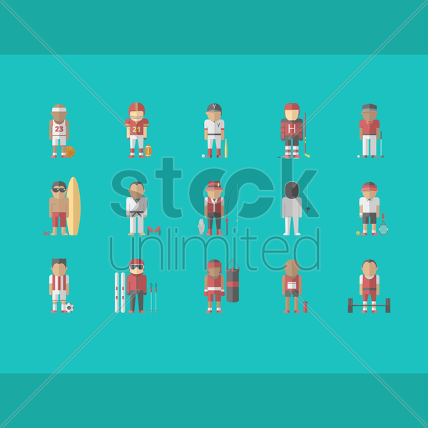 collection of sportsman vector graphic