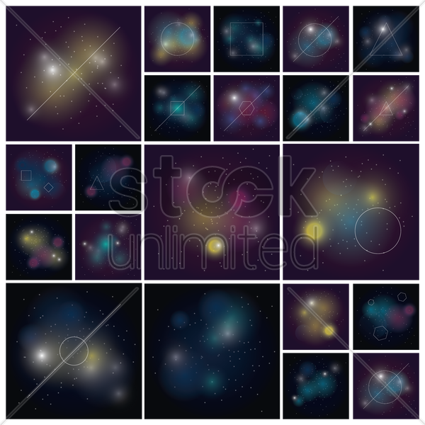 collection of starfield backgrounds vector graphic