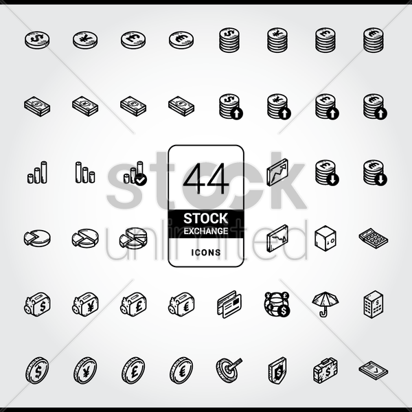 collection of stock exchange icons vector graphic