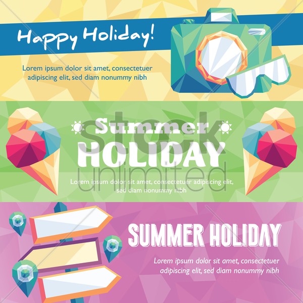 collection of summer holiday banner vector graphic