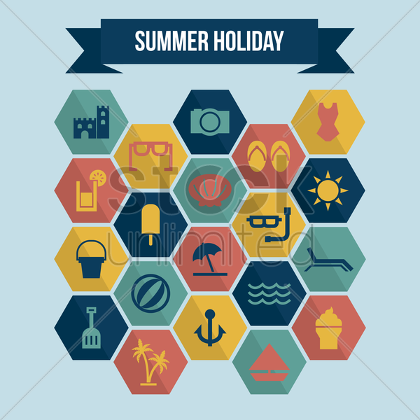 collection of summer holiday icons vector graphic