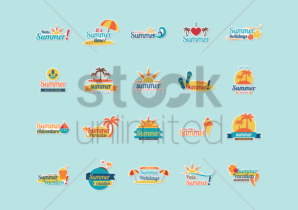 collection of summer letterings vector graphic