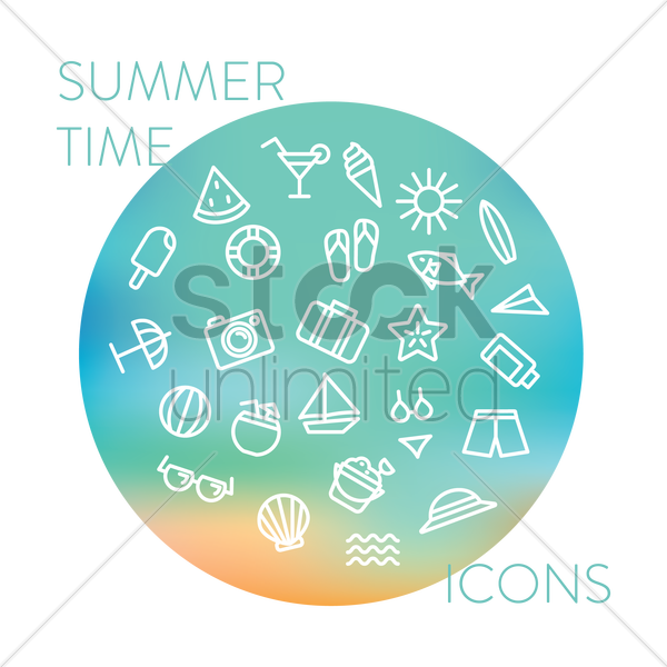 collection of summer time icons vector graphic