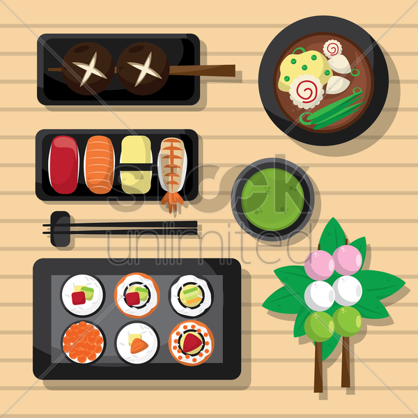 collection of sushis and skewers vector graphic