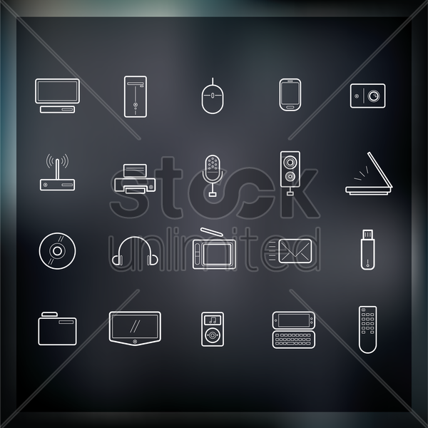 collection of technolgy icons vector graphic