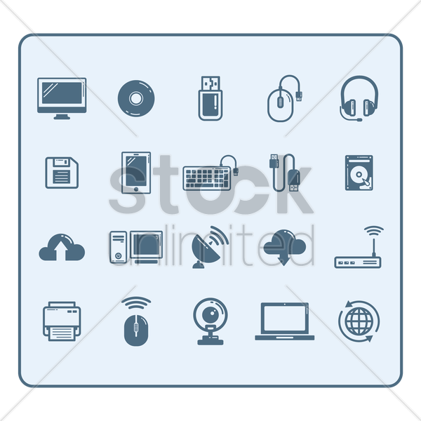 collection of technology devices vector graphic