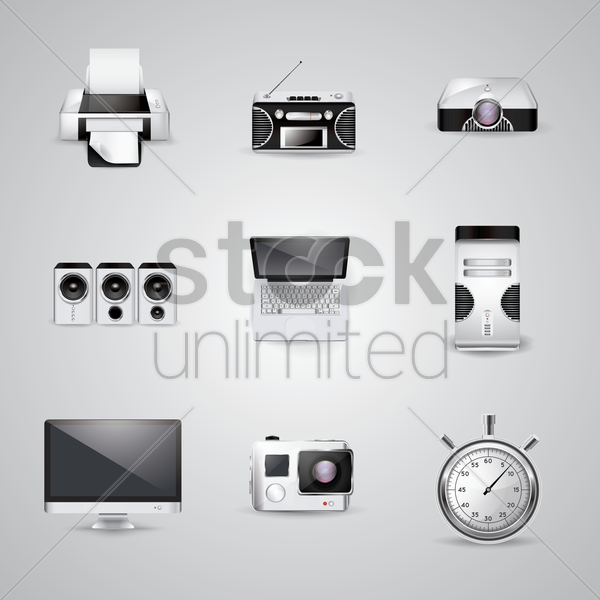 collection of technology icons vector graphic