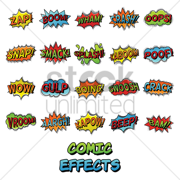 collection of text with comic effects vector graphic