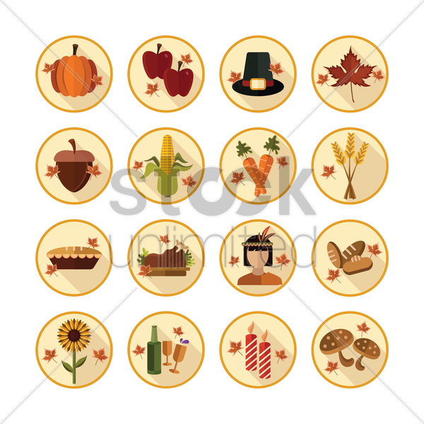 collection of thanksgiving icons vector graphic