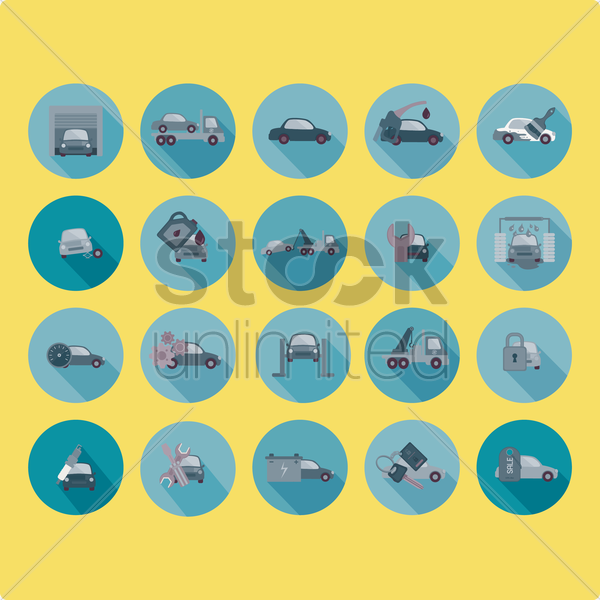 collection of transportation and automobile parts vector graphic