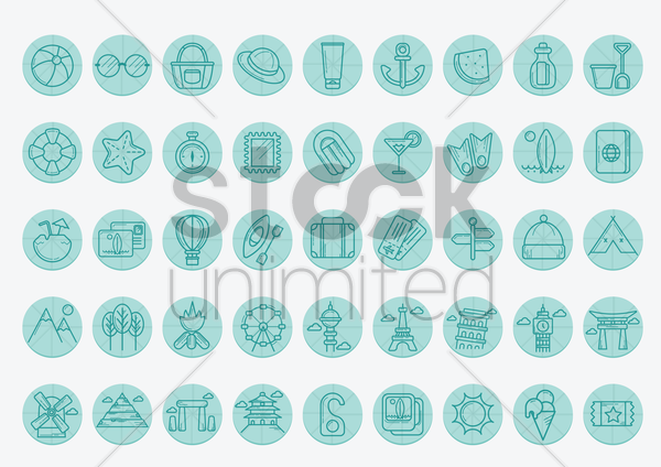 Free collection of travel icons vector graphic