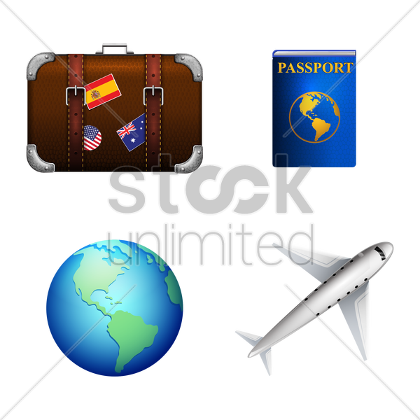 collection of travel icons vector graphic