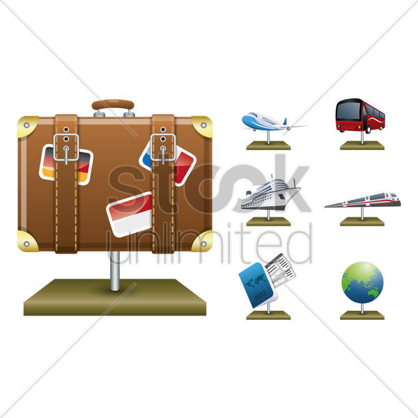 collection of travel models vector graphic