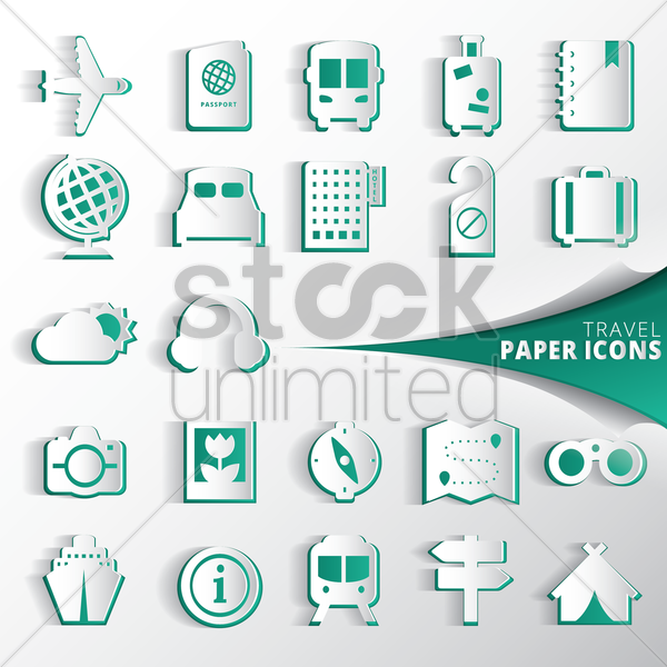 collection of travel paper icons vector graphic