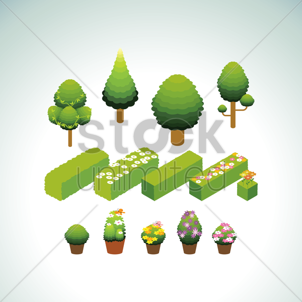 collection of trees and potted plants vector graphic