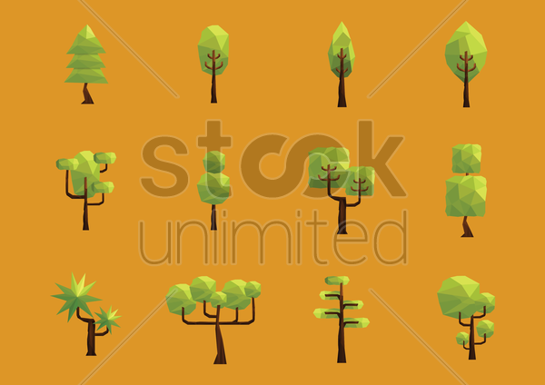 Free collection of trees vector graphic