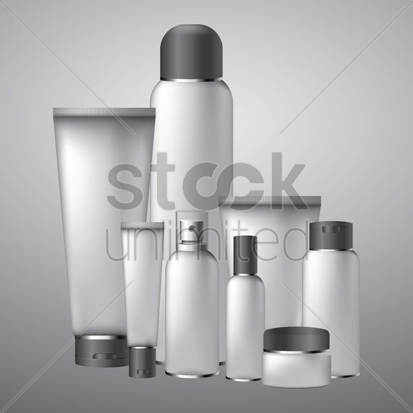 collection of tube containers vector graphic