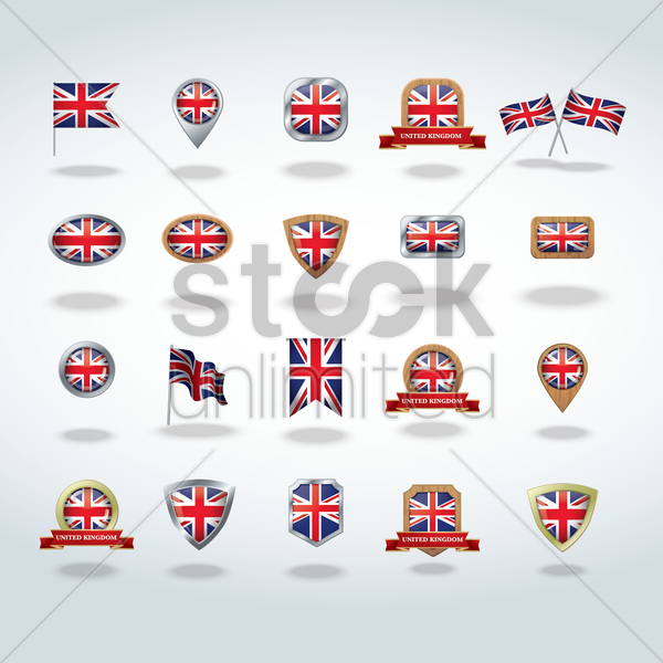 collection of uk flag icons vector graphic