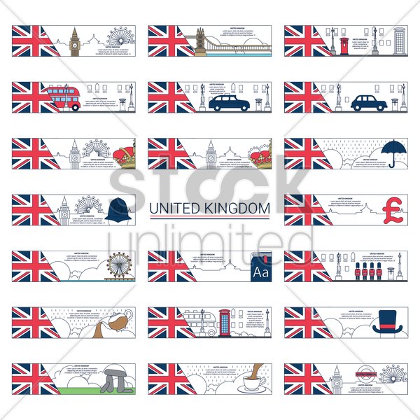 collection of united kingdom banners vector graphic