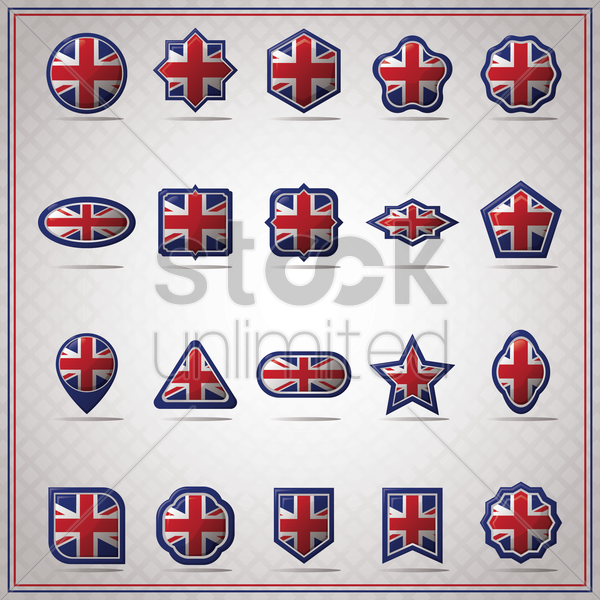 collection of united kingdom flag icon vector graphic