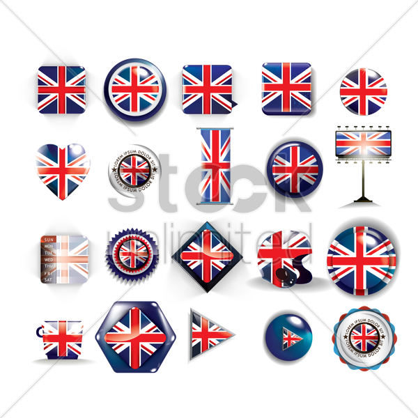 collection of united kingdom flag icons vector graphic