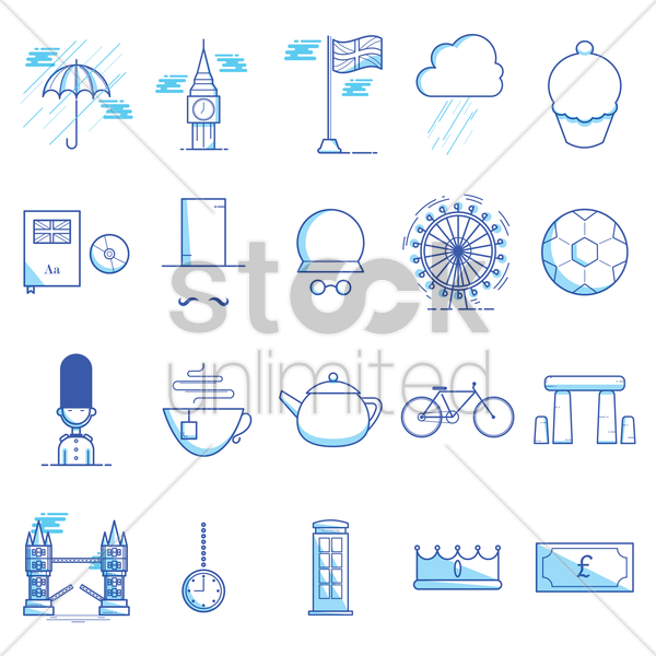 collection of united kingdom icons vector graphic