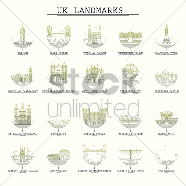 collection of united kingdom landmarks vector graphic