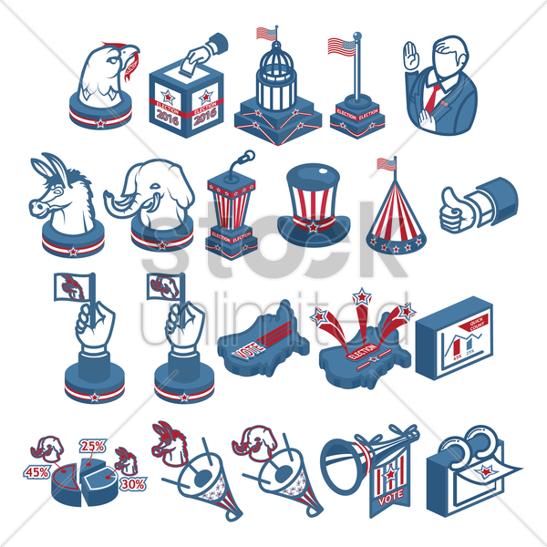 collection of us election icons vector graphic