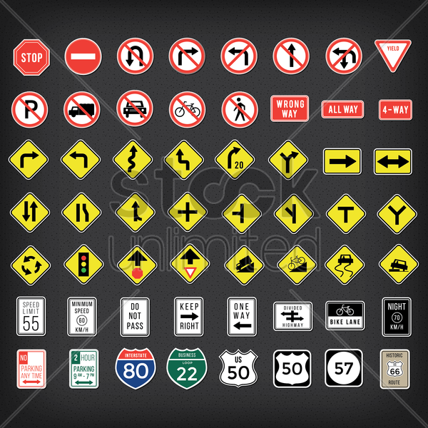 collection of us road signs vector graphic