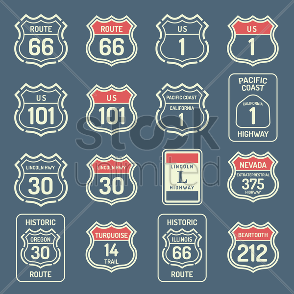collection of us route labels vector graphic