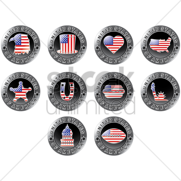 collection of usa badges vector graphic