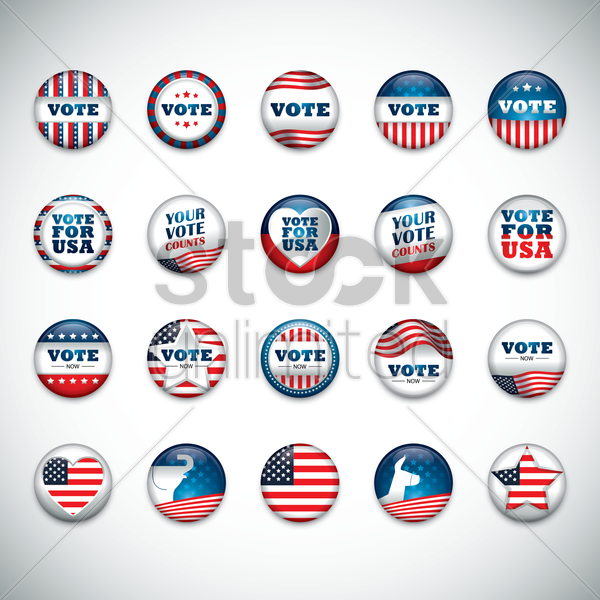 collection of usa button badge vector graphic
