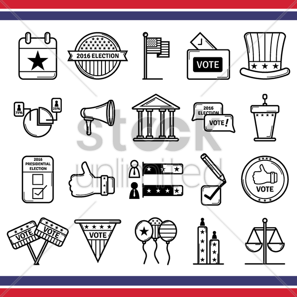 collection of usa elections icons vector graphic