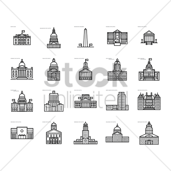 collection of usa government buildings vector graphic