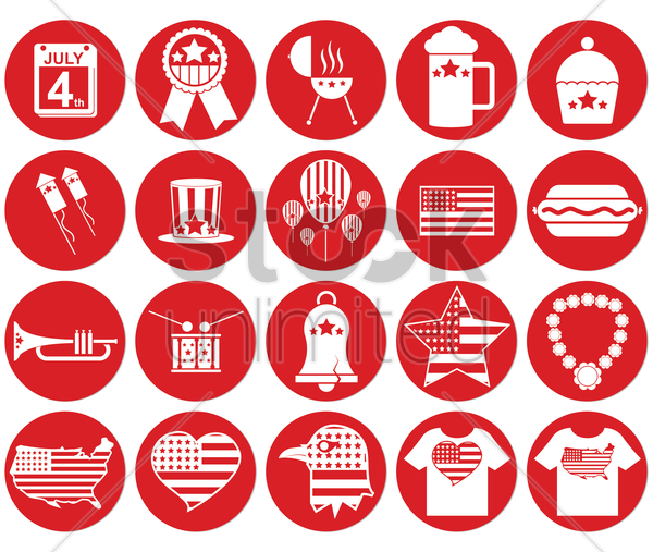 collection of usa independence day icons vector graphic