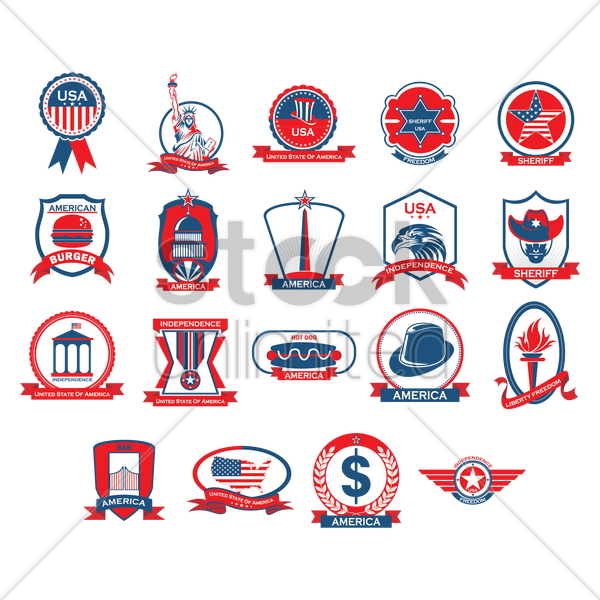 collection of usa labels vector graphic
