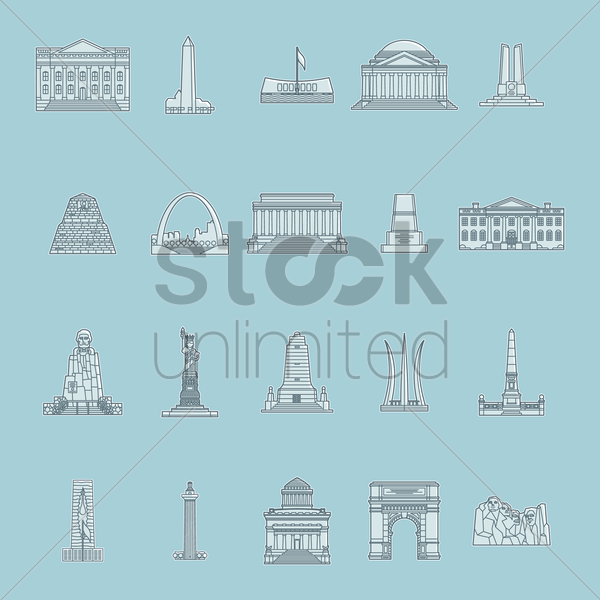 collection of usa monuments vector graphic