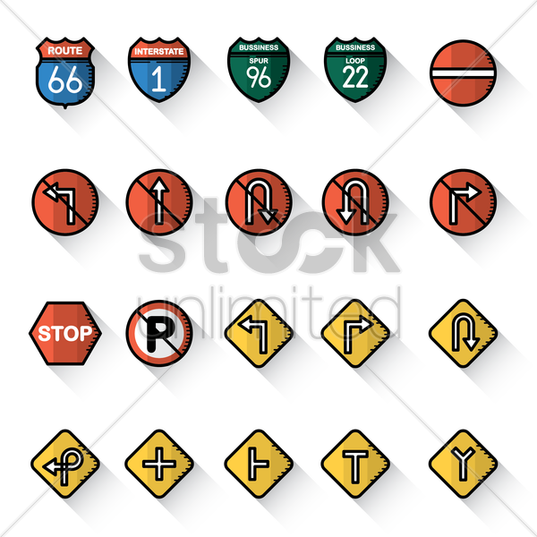 collection of usa road sign icons vector graphic