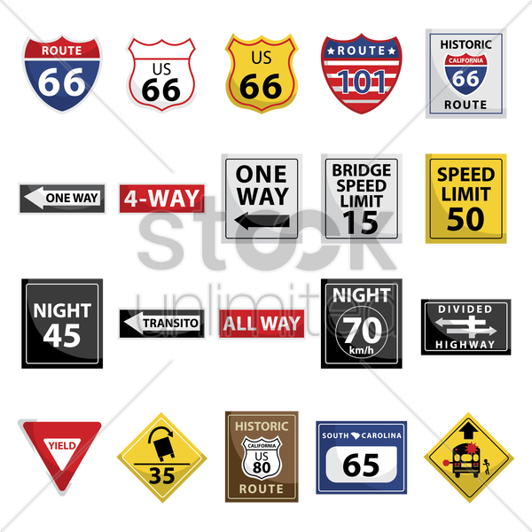 collection of usa road signs vector graphic
