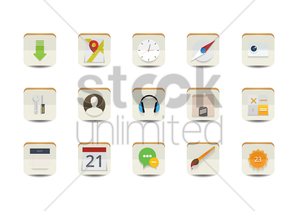 collection of user interface icons vector graphic