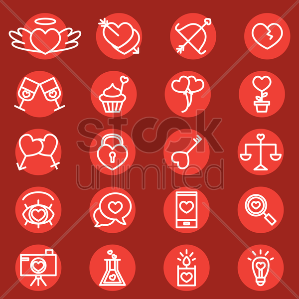 collection of valentine icons vector graphic
