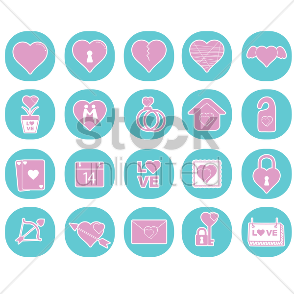 collection of valentine's day icons vector graphic
