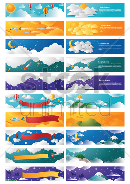 collection of various banners vector graphic