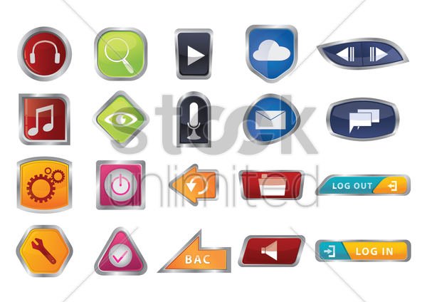 collection of various buttons vector graphic
