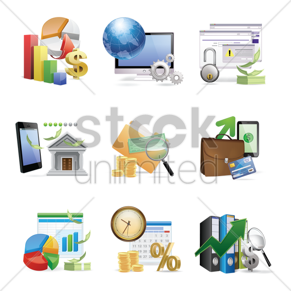 Free collection of various financial related objects vector graphic