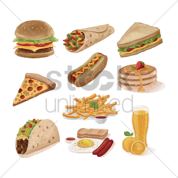 collection of various food vector graphic
