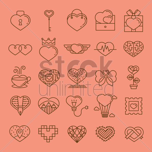 collection of various heart shaped icons vector graphic
