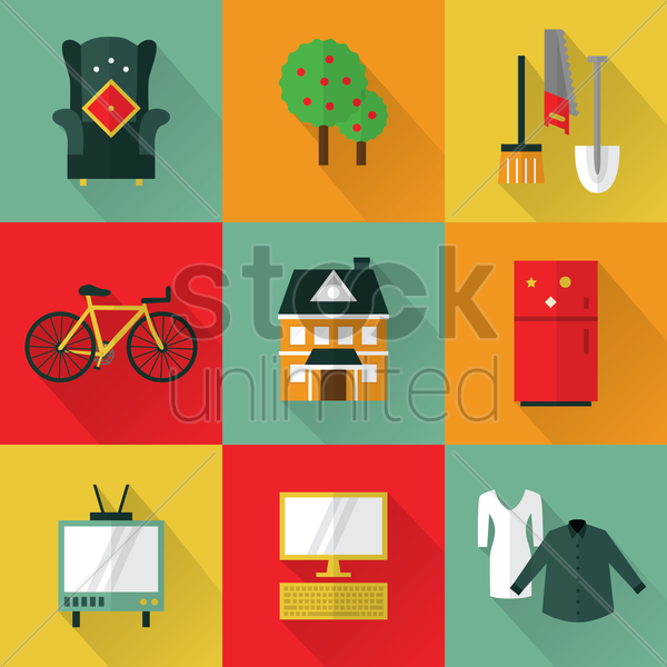 collection of various icons vector graphic