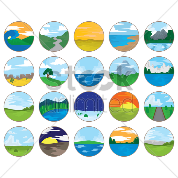 collection of various landscapes vector graphic
